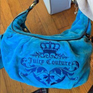 Blue velvet Juicy Couture hobo purse!